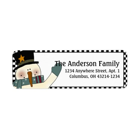 Country Prim Christmas Snowman Address Labels d2