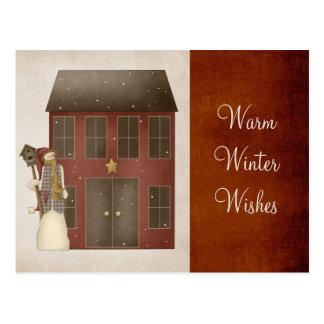 Country Prim Snowman & Saltbox House Design Postcard