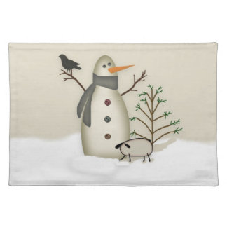 Country Primitive Snowman Placemat