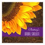 Country Purple Sunflower Bridal Shower Invitations