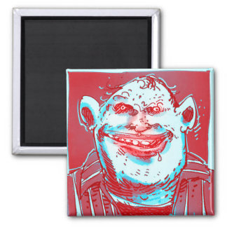 country pyscho man digital drawing funny cartoon square magnet