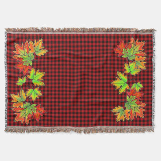 Country red and black plaid - Maple leaves Throw Blanket
