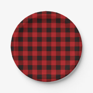 Country Red and Black plaid Paper Plate