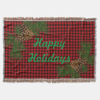 Country red and black plaid - pine cone detail throw blanket