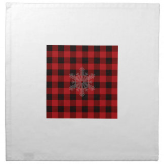 Country red and black plaid - snowflake napkin