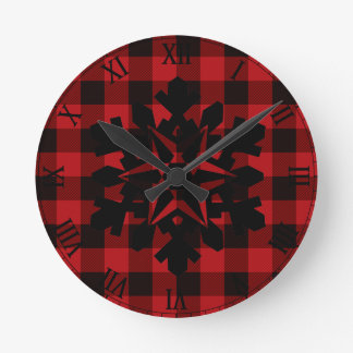 Country red and black plaid -snowflake round clock