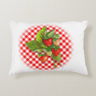 Country Red and White with Berries Decorative Cushion