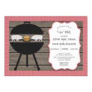 Country Red Gingham Wood I DO BBQ Engagement Party Card