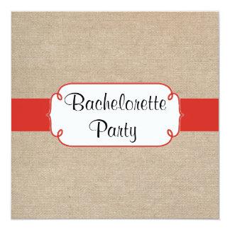 Country Red Orange and Burlap Bachelorette Party 13 Cm X 13 Cm Square Invitation Card