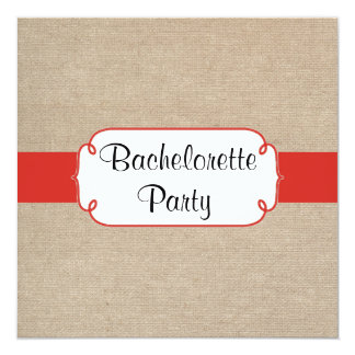 Country Red Orange and Burlap Bachelorette Party Card