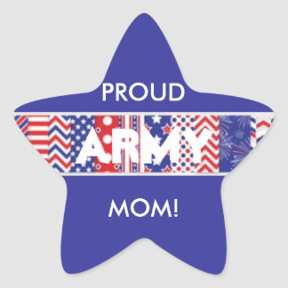Country Red, White & Blue Army Mom Star Sticker