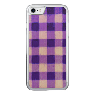 Country Retro Gingham Lavender Purple Carved iPhone 8/7 Case