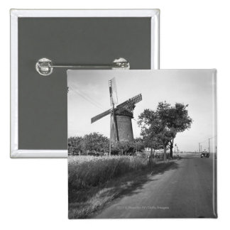 Country road and traditional windmill 15 cm square badge
