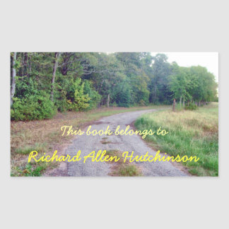 Country Road Bookplate Rectangular Sticker