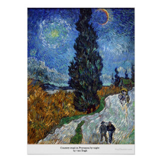 Country road in Provence by night by van Gogh Poster