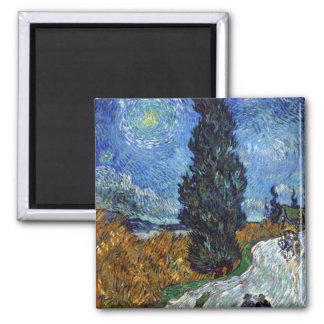 Country road in Provence by night by van Gogh Square Magnet