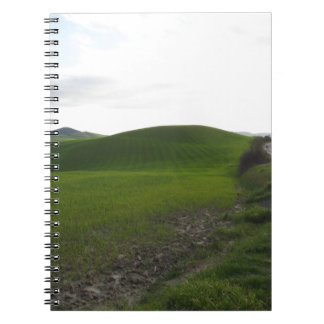Country road over rolling green hills and valleys notebook