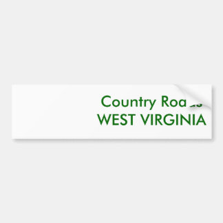 Country Roads Bumper Sticker
