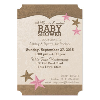Country Rodeo Western Baby Shower 13 Cm X 18 Cm Invitation Card