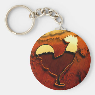 Country Rooster Basic Round Button Key Ring