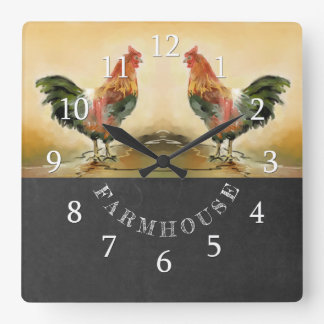 Country Rooster Chalkboard Farmhouse Square Wall Clock