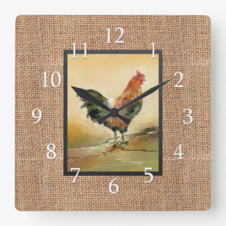 Country Rooster On Rustic Burlap Square Wall Clock