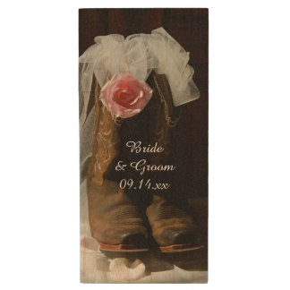 Country Rose and Cowboy Boots Country Wedding Wood USB 2.0 Flash Drive