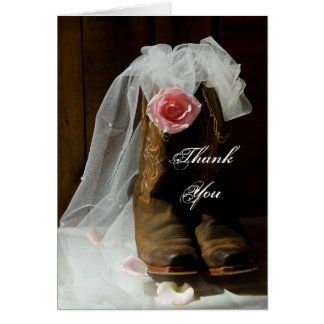 Country Rose Cowboy Boots Bridesmaid Thank You Greeting Card