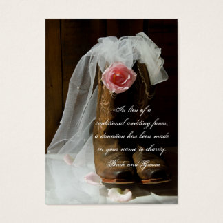 Country Rose Western Wedding Charity Favor Card