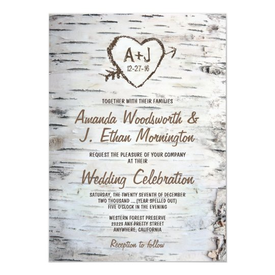 country rustic birch tree bark wedding invitations zazzle com au
