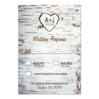 Country Rustic Birch Tree Bark Wedding RSVP Cards
