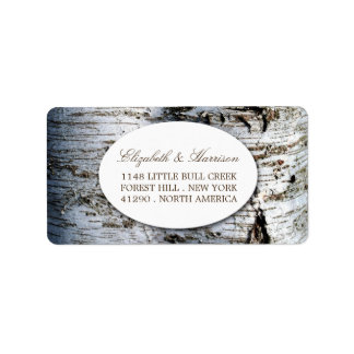 Country Rustic Birch Tree Wedding Label