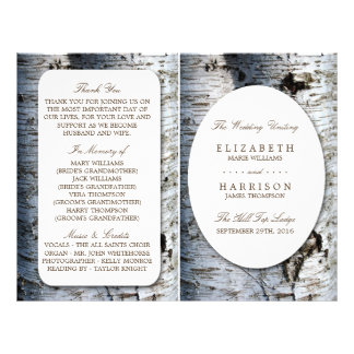 Country Rustic Birch Tree Wedding Program Template Flyer