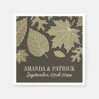 Country Rustic Burlap Fall Leaves Wedding Napkins Disposable Serviettes