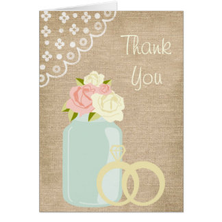 Country Rustic Burlap Lace Mason Jar Thank You Card