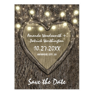 Country Rustic Carved Oak Tree Save The Date Cards Postcard