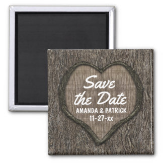 Country Rustic Carved Oak Tree Save The Date Square Magnet