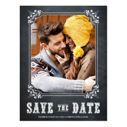 COUNTRY RUSTIC CHALKBOARD SAVE THE DATE POSTCARD