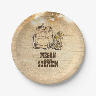 Country Rustic Cowboy Boots Barn Wedding 7 Inch Paper Plate