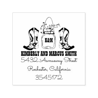 Country Rustic Cowboy Boots Mason Jar Self-inking Stamp