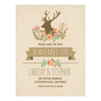 Country rustic deer antlers save the date postcard post cards