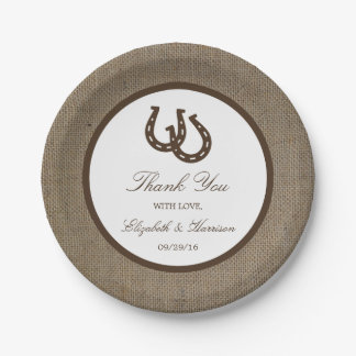 Country Rustic Horseshoe On Burlap Wedding 7 Inch Paper Plate