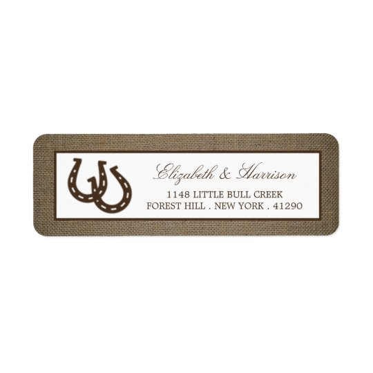 Country Rustic Horseshoe On Burlap Wedding Return Address Label