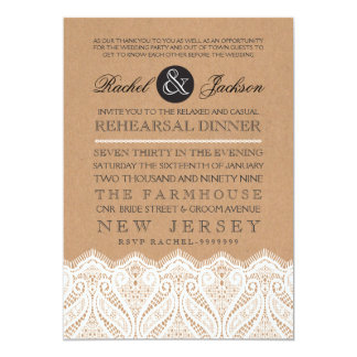 Country Rustic Lace Rehearsal Dinner Invitation
