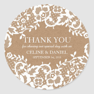 Country Rustic Lace Wedding Thank You Classic Round Sticker