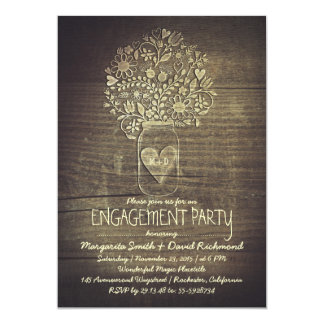 country rustic mason jar floral engagement party 13 cm x 18 cm invitation card