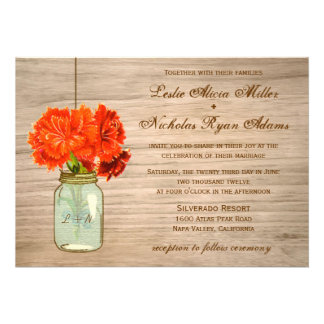 Country Rustic Mason Jar Flowers Wedding Personalized Announcements