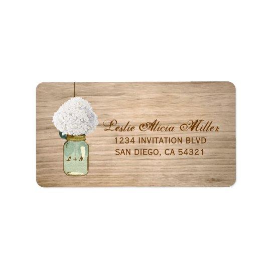 Country Rustic Mason Jar Hydrangea Address Labels