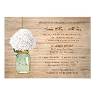 Country Rustic Mason Jar Hydrangea Bridal Shower Invites