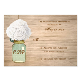 Country Rustic Mason Jar Hydrangea RSVP Personalized Announcements